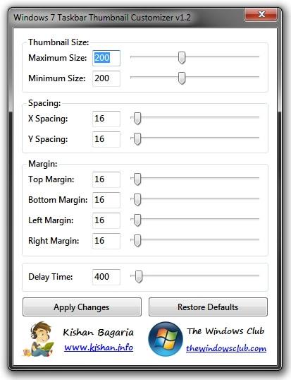 اندازه Thumbnail Preview ویندوز 7 را افزایش دهید