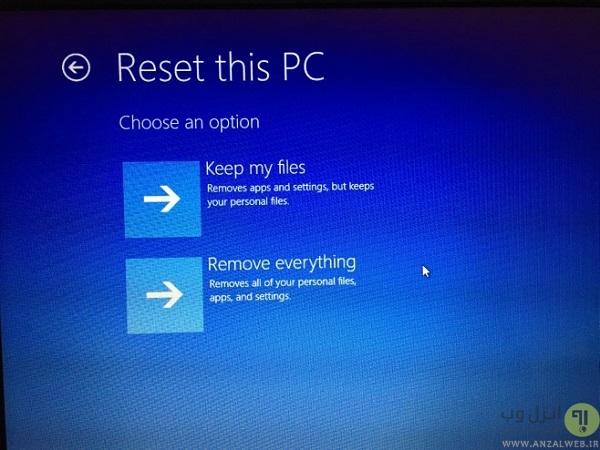 reset pc ویندوز 10 windows 10