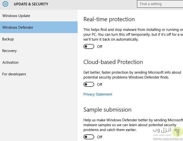 عدم نمایش پیغام،پاک کردن،غیر فعال کرن آپدیت ویندوز دفندر ( Windows Defender) ویندوز 10