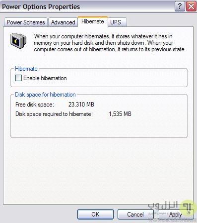 غیر فعال کردن Hibernate پاک کردن hiberfil.sys در ویندوز XP