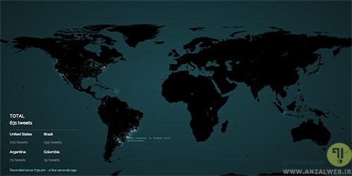 مشاهده اتفاقات تویتر بر روی نقشه