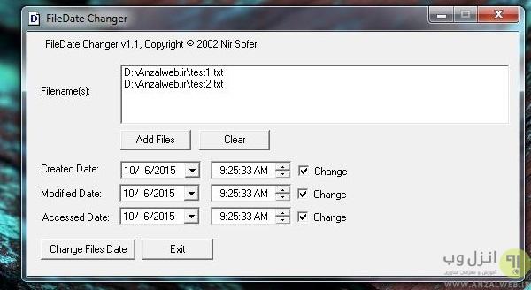 تغییر کلی تاریخ ایجاد فایل و پوشه ها (Creation Date)،تاریخ و زمان آخرین دستکاری پوشه و فایل (Modified Date) و آخرین زمان و تاریخ دسترسی به فایل و پوشه (Last access Date)