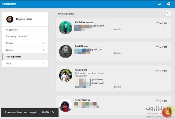 روش اول : استفاده از Google Contacts در وب