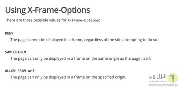 تنظیمات x-frame-option را در قسمت Header پروتوکل HTTP فعال کنید