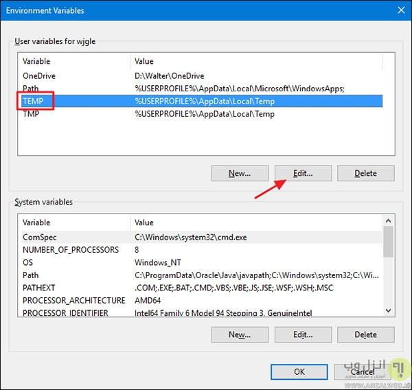 انتقال فایل های موقت ویندوز به درایوی دیگر