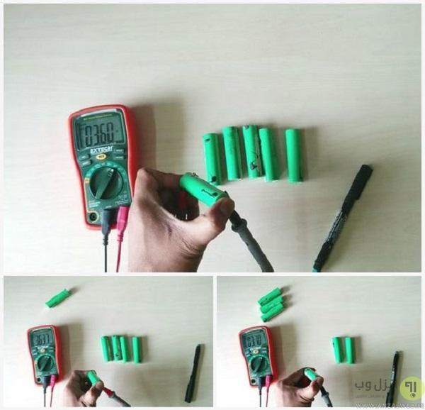 تست باتری ها توسط اهم متر