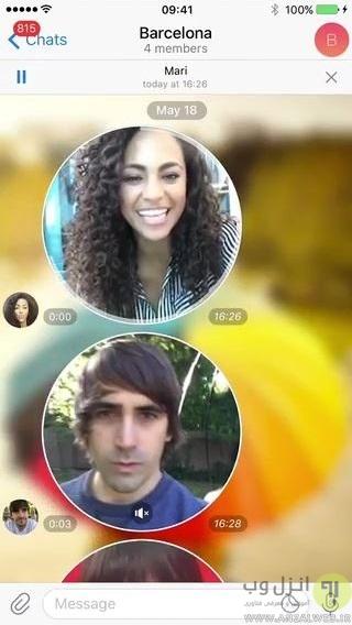 آموزش ضبط و ارسال پیغام ویدیویی در کانال ، گروه و چت تلگرام