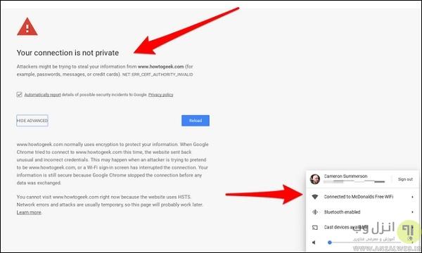 خصوصی نبودن اتصال