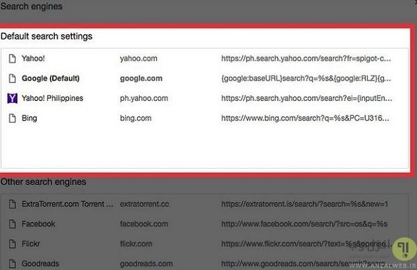 default search settings