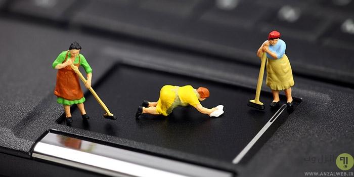 تمیز کردن فن کیبورد صفحه نمایش لپ تاپ
