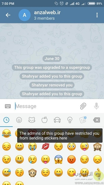 the admins of this group have restricted you from sending stickers , writing , media here