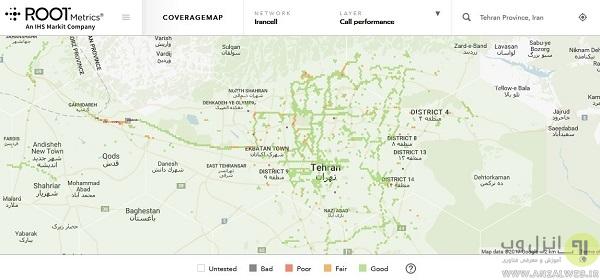 مشاهده منطقه تحت پوشش آنتن دهی و سرعت اینترنت اپراتور گوشی در RootMetrics