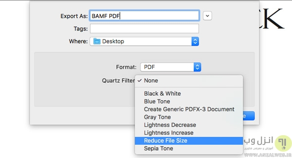 کاهش سایز pdf در مک