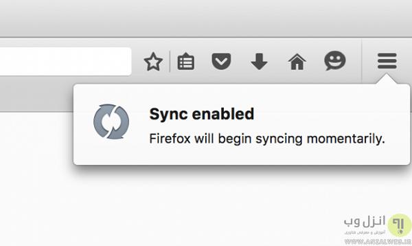 پیغام همگام سازی فایرفاکس با موفقیت