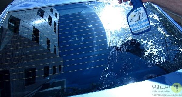 پاک کردن رنگ از روی شیشه با اسپری مخصوص