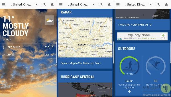 11 تا از بهترین برنامه های هواشناسی اندروید