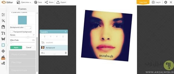 روتوش آنلاین چهره در سایتpicmonkey
