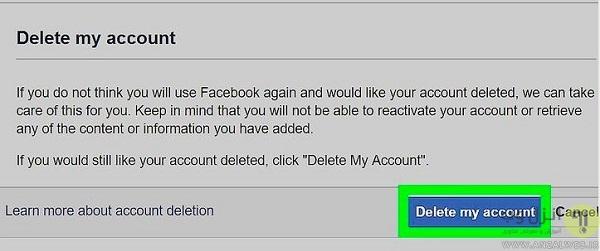 بستن دائمی اکانت فیس بوک