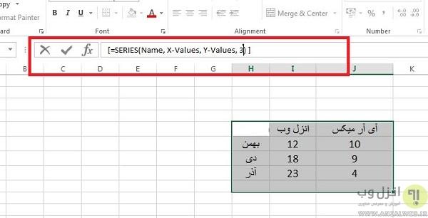 رسم نمودار در اکسل با استفاده از فرمول