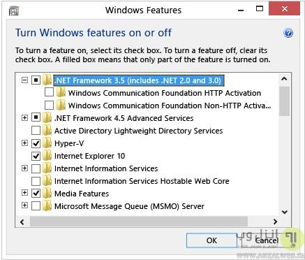 فعال کردن NET Framework 3.5 در کنترل پنل