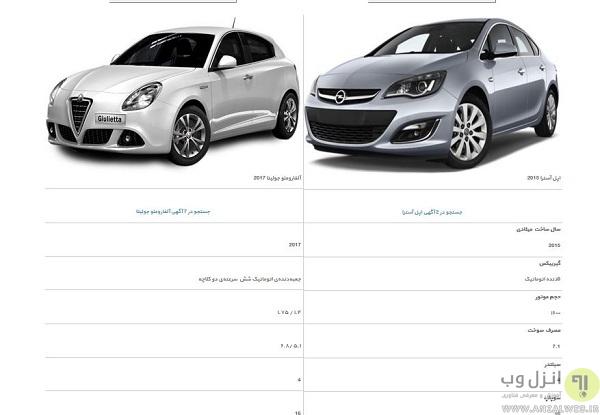 نحوه مقایسه فنی خودرو در سایت بانی خودرو