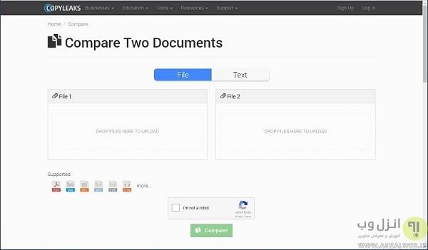 سایت copyleaks مقایسه متن