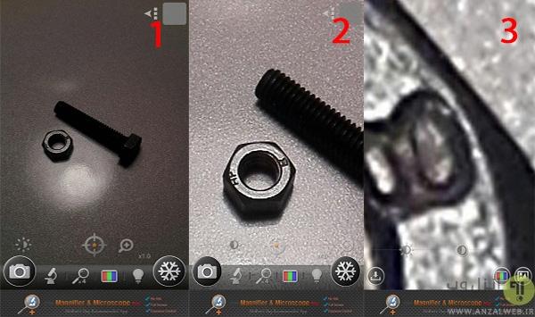 مقایسه حالت ذره بین و میکروسکوپ نرم افزار اندرویدی Magnifier & Microscope