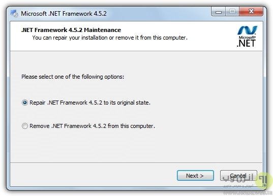 سعی کنید از ابزار NET Repair Function استفاده کنید
