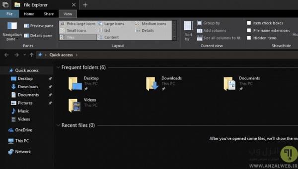 آموزش فعال کردن پوسته سیاه حالت شب در بخش کامپیوتر ویندوز 10