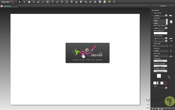 ساخت فایل SVG در سرویس آنلاین Janvas