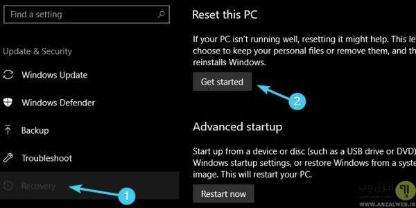 ریست کردن در تنظیمات نتورک در روشن نشدن وای فای لپ تاپ