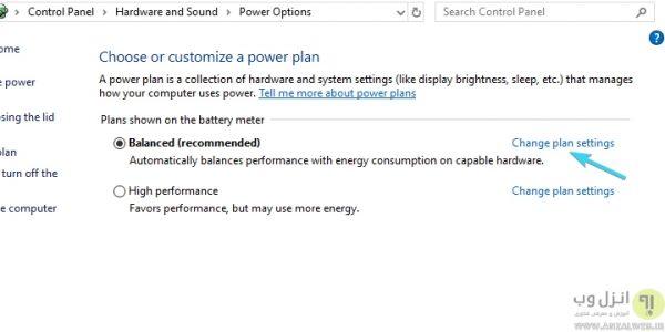 تنظیمات برق در علت و روش رفع مشکل روشن نشدن وای فای لپ تاپ ویندوز 10، 8 و 7