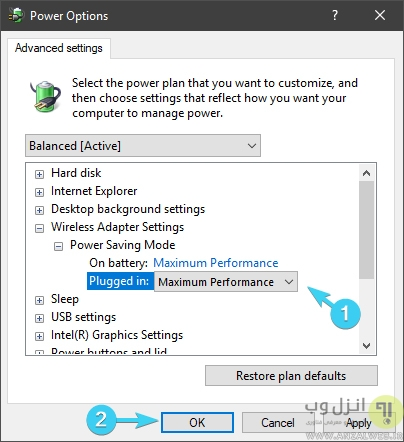 تنظیمات نیرو در علت و روش رفع مشکل روشن نشدن وای فای لپ تاپ ویندوز 10، 8 و 7