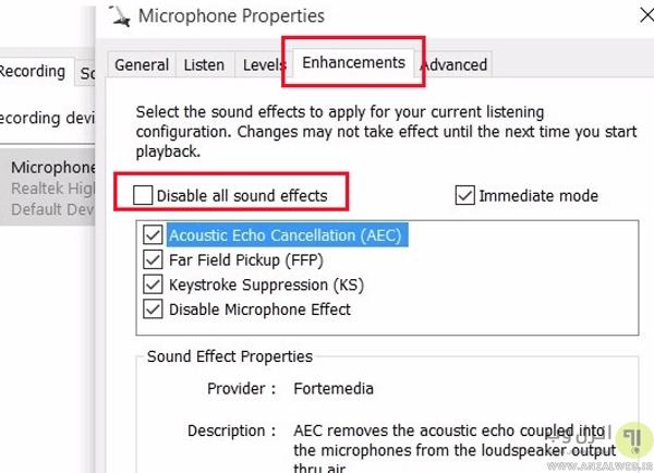 Unmute کردن میکروفون و افزایش حجم صدا