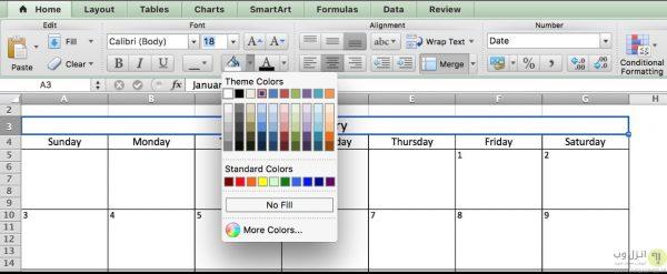 استفاده از اکسل (Excel spreadsheet) در ساخت تقویم برای مدیریت پروژه