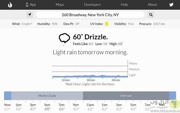 Dark Sky - دقیق ترین سایت هواشناسی دنیا