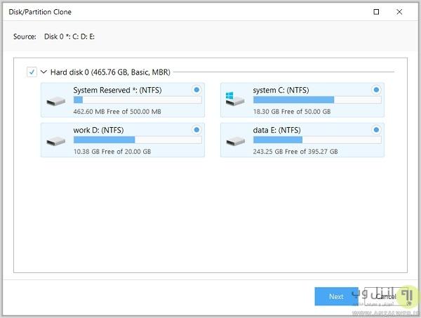 مهاجرت فایل ها با Disk/Partition Clone