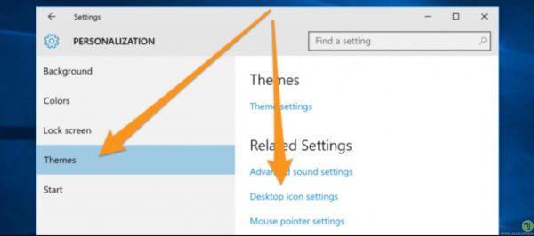 منوی تنظیمات اضافه کردن آیکون به دسکتاپ