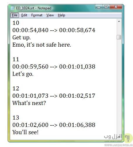 نحوه ساخت زیرنویس های SRT ساده دریک ویرایشگر متن