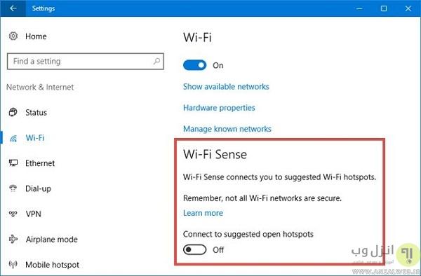 رفع مشکل عدم اتصال به اینترنت با غیرفعال کردن Wi-Fi Sense