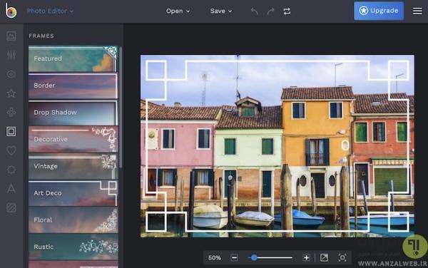 استفاده از ابزار آنلاین BeFunky برای اضافه کردن قاب دور عکس