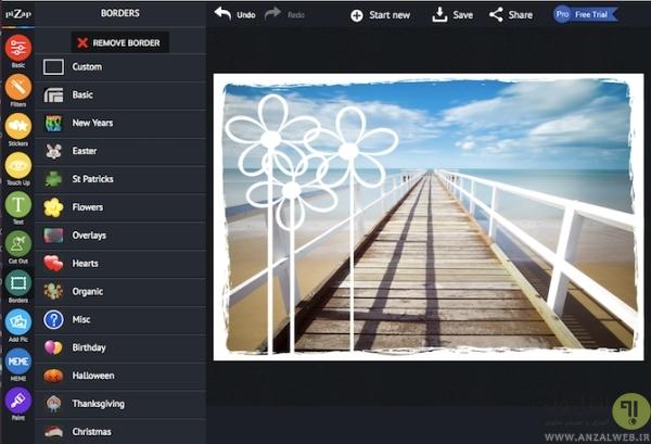 سرویس آنلاین Pizap برای اضافه کردن قاب به عکس