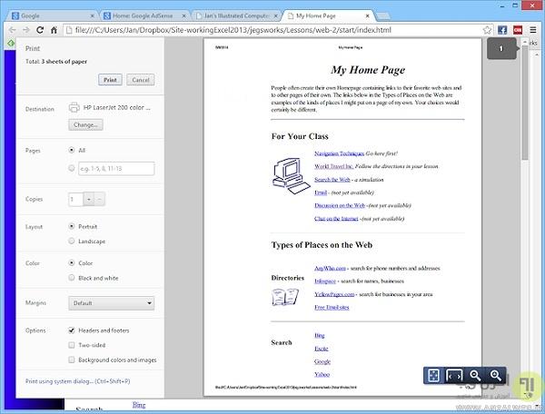 مشکل بد پرینت شدن صفحات وب