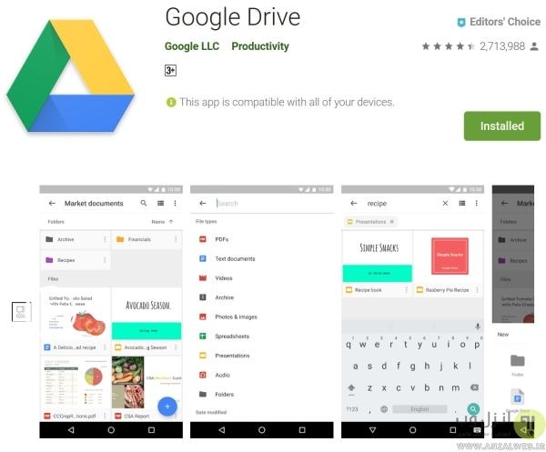 باز کردن ورد با برنامه Google Drive