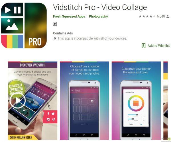 درست کردن ویدیو و اشتراک گذاری آن با Vidstitch Pro – Video Collage