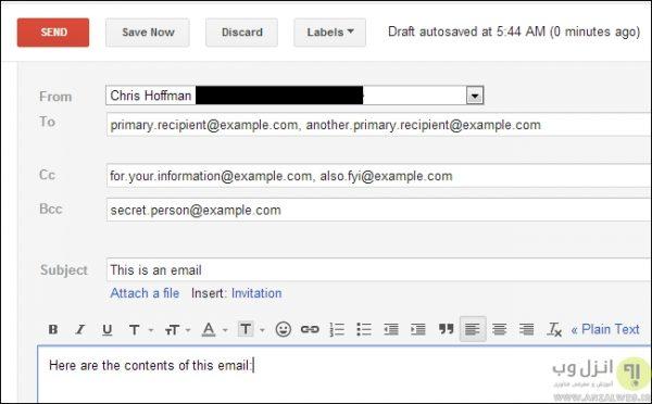 مقایسه CC و TO در ایمیل