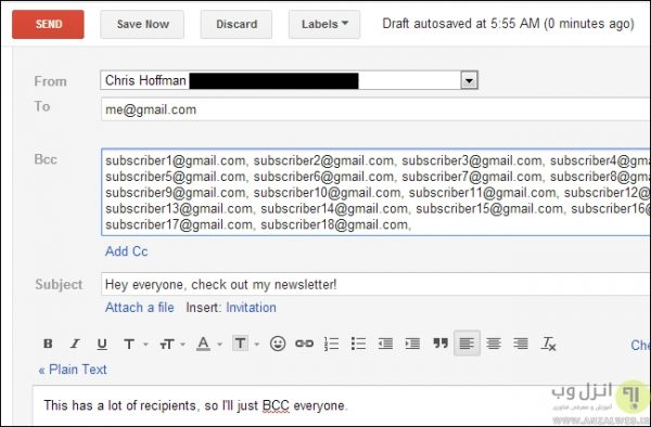 کاربرد BCC در ایمیل