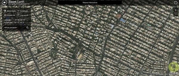 گوگل ارث برای کامپیوتر در سرویس آنلاین zoom.earth
