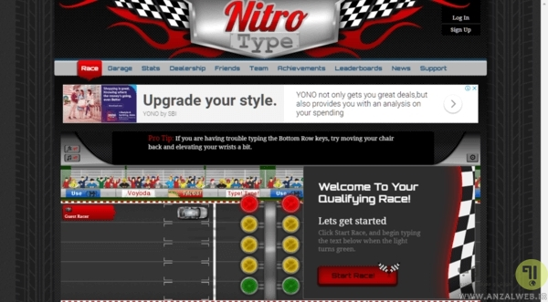 محاسبه سرعت تایپ با Nitro Type Race