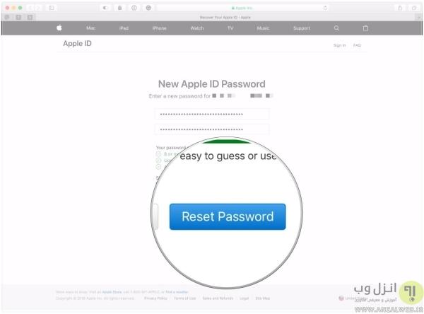 بازیابی رمز عبور اپل ایدی با ایمیل یا سوال امنیتی